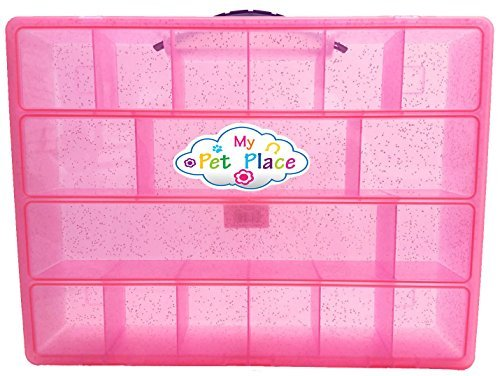 My Pet Place Special Animal Collection, Storage for Small Favorite Toys, Lightweight Carrying Case, Pink Gliter