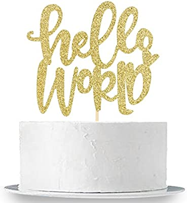 Gender Reveal Cake Topper INNORU Gold Glitter Hello World Cake Topper Baby Shower Party Decorations Supplies for Baby