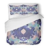 SanChic Duvet Cover Set Blue Arabic Abstract Ethnic Ikat Pattern Traditional on the in Indonesia Asian Countries Artistic Decorative Bedding Set with Pillow Sham Twin Size