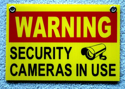 VINBOX WARNING SECURITY CAMERAS IN USE SIGN 8'',x12'', NEW with Grommets Surveillance from VINBOX