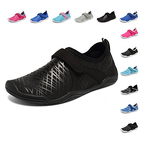 FANTURE Girls & Boys Water Shoes Lightweight Comfort Sole Easy Walking Athletic Slip on Aqua Sock(Toddler/Little Kid/Big Kid) U4JSX001-Black-36