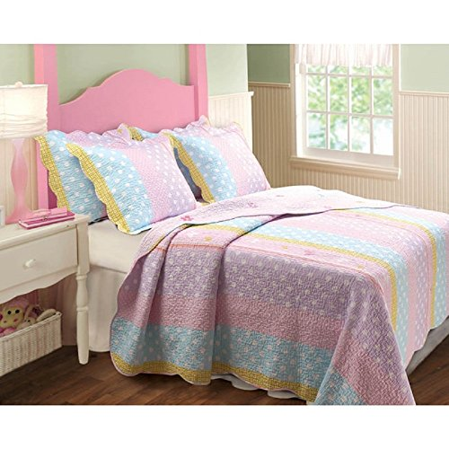 3 Piece Stripes Polka Dots Pattern Quilt Set Full/Queen Size, Girly All Over Dots Print, Vertical Dotted Striped Theme, Hippy Indie Style, Reverse Flowers Bedding, Bright Vivid Colors Pink Purple Blue