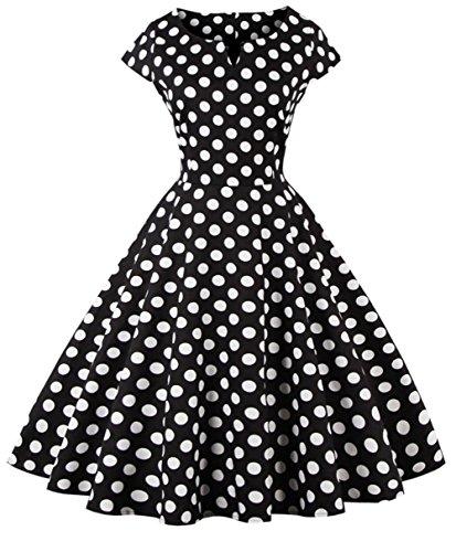 FAIRY COUPLE 1950S Vintage Rockabilly Polka Dots Cap Sleeves Prom Dress 3XL Black Dots