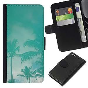 KingStore / Leather Etui en cuir / Apple Iphone 5C / Palms Tormenta trullo Miami California Cielo