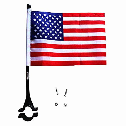 AISHEMI Kids Bike Accessories Cycling Handlebar Safety Flag Pole Polyester Full Color Tear-Resistant Waterproof Flag American Flag (Bike Flag)