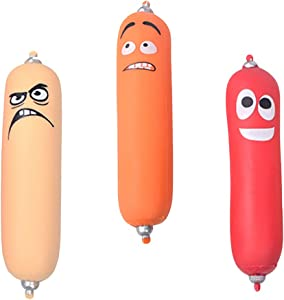 NUOBESTY Stretchy Sausage Sensory Toys Vent Toy Jumbo Squeeze Slow Rising Sausage Figurine Stress Reliever Food Sensory Toys for Kids Adults Hoilday Gifts Random Color 3pcs