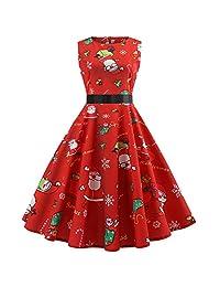FarJing Christmas Dress, Women Christmas Evening Printing Party Prom Swing Dress