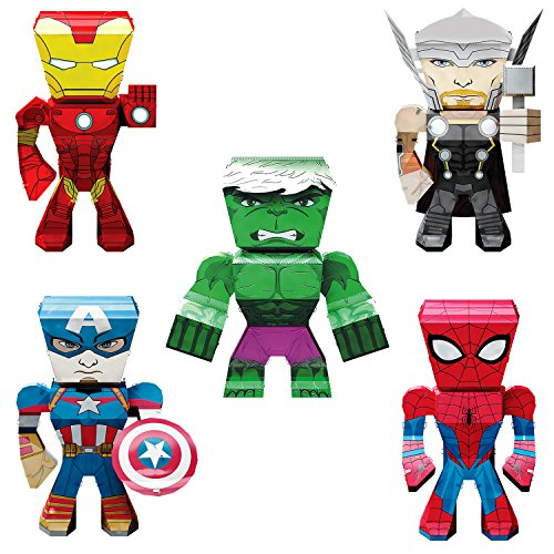 Fascinations Metal Earth Marvel Legends 3D Metal Model Kits Set of 5 Iron Man - Spider-Man - Captain America - Thor - Hulk ()
