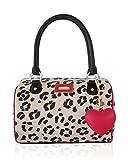 Betsey Johnson Heart Medium Speedy Satchel Shoulder Bag - Cheetah Red