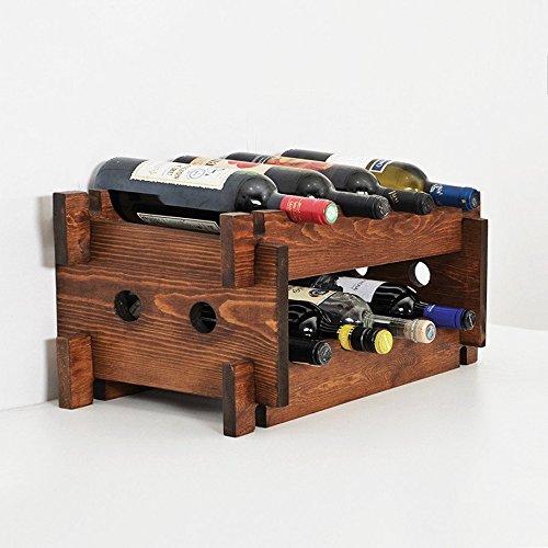"Woodymood French Style Wine Rack, Wood Countertop Wine Rack, 8 Bottles, W:20"" L:9.5"" H:10"" (Brown) For Sale"