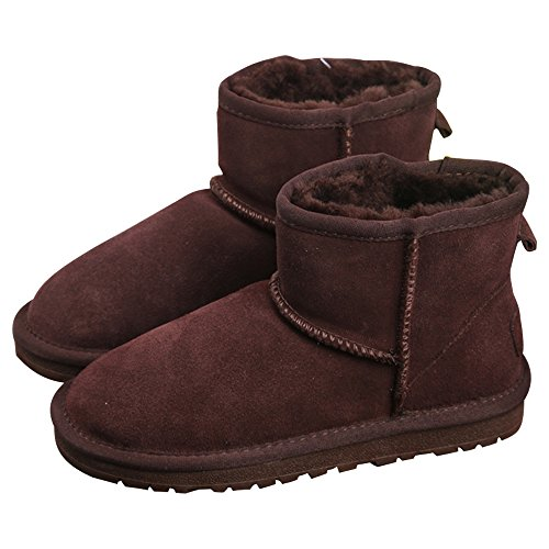 Eastlion Women's Thick Sole Warm Fur Lined Winter Anti-Skid Flat Snow Boots Classic Boots Short Boots Shoes Darl Brown liY7FO