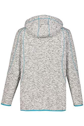 Popken Turquoise Women's Cardigan Strickfleece Melange Grey Ulla R6vqw
