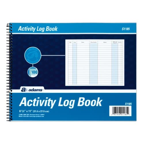 Adams Activity Log Book, Spiral Bound, 8.5 x 11 Inches, 100 Pages, White (S1185ABF) free shipping