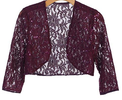 Angel's 3/4 Sleeve Lace Bolero Bridal Jacket Bodice Fully Lined Shrug Jacket NWT (XL, PLUM) ()