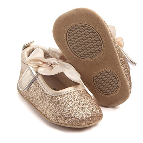 Elaco Infant Baby Girls Moccasins Anti-slip Soft Sole Princess Shoes (6~12 Month, Gold)
