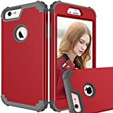 Maxcury iPhone 6 Plus Case iPhone 6s Plus Case, Hybrid Heavy Duty Shockproof Full-Body Protective Case with Three Layer Impact Protection for Apple iPhone 6s Plus 5.5 inch - Red and Dk Grey