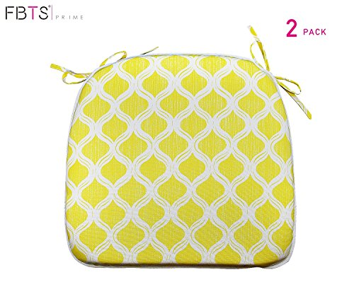 FBTS Prime Outdoor Chair Cushions (Set of 2) 16x17 Inches Patio Seat Cushions Yellow Square Chair Pads for Outdoor Patio Furniture Garden Home Office