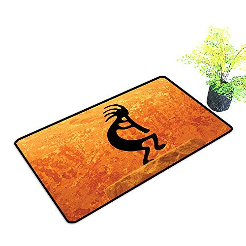 Large Outdoor Door Mats Kokopelli Southwestern Style Native American Ancient Belief Picture Art Orange Use for Entrance Outside Doormat Patio W21 x H11 INCH