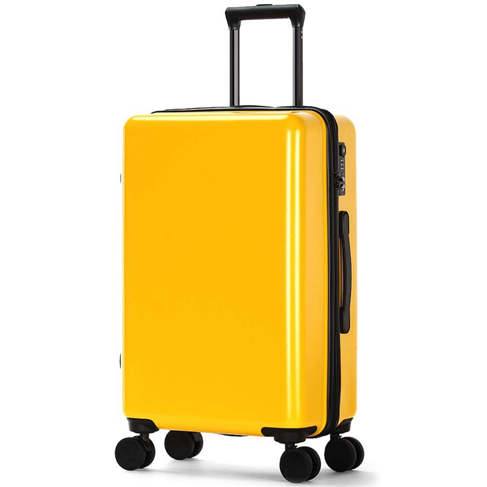 トロリーケース - ABS/PC、TSA税関コードロック、ダブルトラックジッパー、小型の新しい無地学生トラベルトロリーケース - 4色オプション (色 : イエロー いえろ゜, サイズ さいず : 38*24*65cm) 38*24*65cm イエロー いえろ゜ B07MTY5BW2
