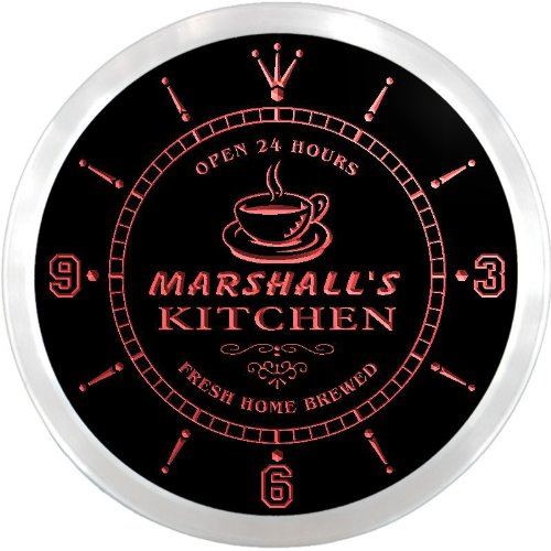 Marshall Led Sign - ncpc1119-r Marshall's Coffee Kitchen Neon Sign LED Wall Clock