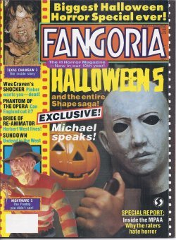 FANGORIA #88, November, Nov. 1989 (Halloween 5; Shocker; Phantom of the Opera; Bride of Re-Animator; Sundown; Edgar Wallace; Texas Chainsaw -