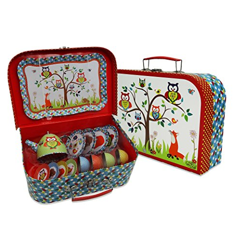 Woodland Animals Kids Tin Tea Set & Carry Case (14 piece Tea Set for Kids) Slimy Toad (Tea Set For Toddlers)