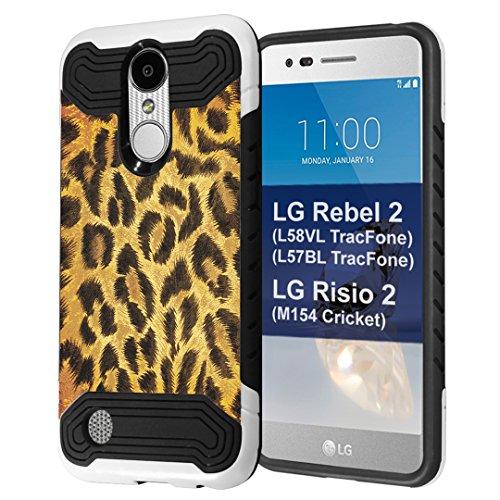 LG Rebel 2 Case, LG LG Risio 2 Case, Capsule-Case Quantum Hybrid Dual Layer Slim Armor Case (White & Black) for LG Rebel 2 L58VL L57BL / LG Risio 2 M154 - (Leopard)