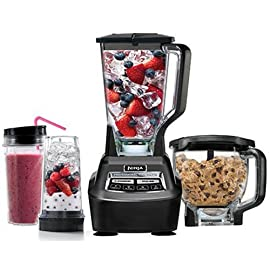 Ninja Mega Kitchen System (BL770) Blender/Food Processor with 1500W Auto-iQ Base, 72oz Pitcher, 64oz Processor Bowl, (2) 16oz Cup for Smoothies, Dough & More 6 72 oz Total crushing pitcher pulverizes ice to snow in seconds for creamy frozen drinks and smoothies 2 Horsepower 8-Cup food processor bowl provides perfect, even chopping and makes up to 2 lbs Of dough in 30 seconds Two 16 oz Nutri Ninja cups with to-go lids are perfect for creating personalized, nutrient-rich drinks to take on the go