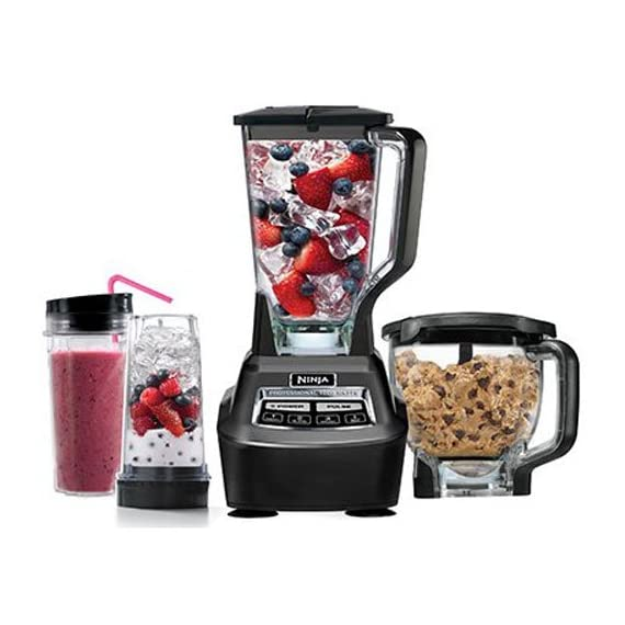 Ninja Mega Kitchen System (BL770) Blender/Food Processor with 1500W Auto-iQ Base, 72oz Pitcher, 64oz Processor Bowl, (2) 16oz Cup for Smoothies, Dough & More 1 72 ounce total crushing pitcher pulverizes ice to snow in seconds for creamy frozen drinks and smoothies; 2 horsepower Eight cup food processor bowl provides perfect, even chopping and makes up to 2 pounds of dough in 30 seconds Two 16 ounce Nutri Ninja cups with to go lids are perfect for creating personalized, nutrient rich drinks to take on the go