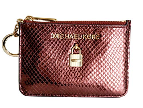 Michael Kors Adele Small Top Zip Coin Pouch ID Card Case Wallet (Embossed Merlot) (Card Case Coin Purse)