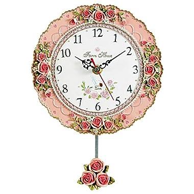 Vintage Rose Pendulum Wall Clock