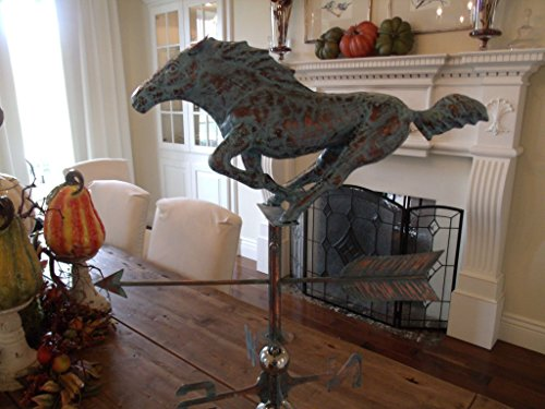 Furniture Barn USA Beautiful Handcrafted 3D 3- Dimensional Racing Horse Weathervane Copper Patina Finish ()
