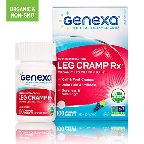 (Genexa Leg Cramp Relief: Certified Organic, Physician Formulated, Natural, Homeopathic, Non-GMO Verified Medicine for Calf, Leg & Foot Pain (100 Chewable Tablets))