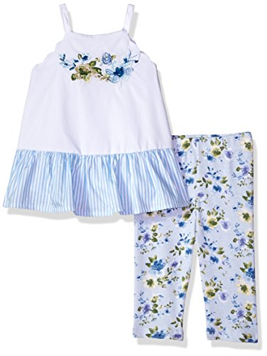 Mud Pie Baby Girls Floral Sleevless Ruffle Tunic and Legging 2 Pc Playwear Set, White, 2T