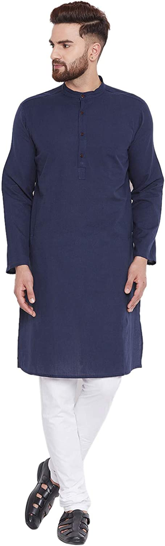 SKAVIJ Herren Tunika Baumwolle Indische traditionelle Kurta Pyjama Sommerkleid Set