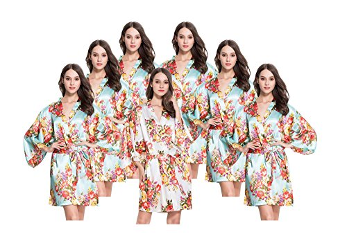 7 FLORAL Satin Bridesmaids Robes, One Size Fits 0-14, White & 6 Aqua by Modern Celebrations