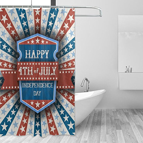 Happy 4Th Of July Patriotic Independence Day Waterproof Polyester Bathroom Shower Curtain Set for Home Decor with Hooks,60W X 72L Inches