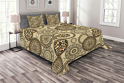 Ambesonne Animal Print Bedspread Set Queen Size, African Safari Pattern with Cheetah Skin Print Animal Theme in Neutral Colors, 3 Piece Decorative Quilted Coverlet with 2 Pillow Shams, Brown Beige ()