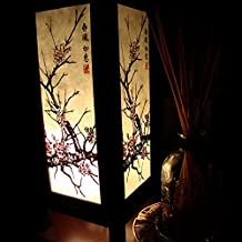 Purple Cherry Blossom Sakura Handmade Asian Oriental Wood Light Night Lamp Shade Table Desk Art Gift Home Vintage Bedroom Bedside Garden Living Room; Free Adapter; Canada Plug Only #138