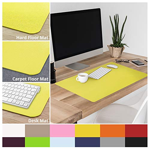 casa pura Non-Slip Yellow Desk Mat | 20 x 26 (1.6x2) | PVC & Phthalate Free | Multiple Colors to Choose from | Matching Chair Mats Available