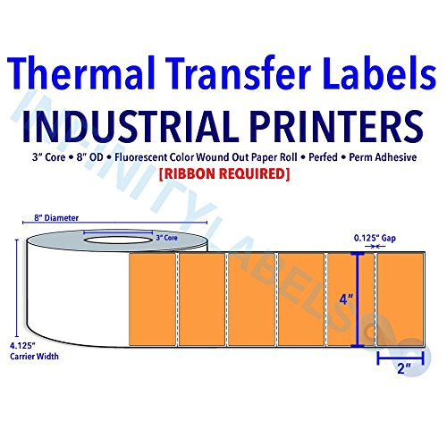 "4"" X 2"" Thermal Transfer Fluorescent Orange (PMS 804) Labels - 3"" Core, 8"" OD - Perfed [640212]"