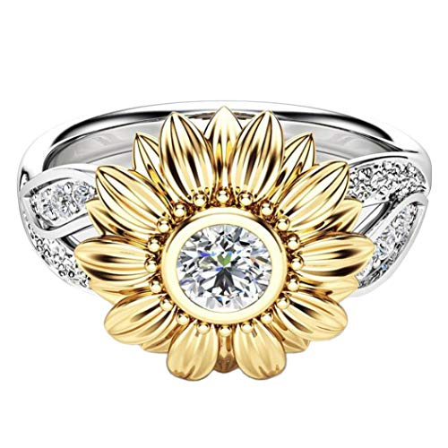 (Tantisy ♣↭♣ Women Fashion Cubic Zirconia Sunflower Eternity Promise Rings Love Engagement Wedding Rings for Women)
