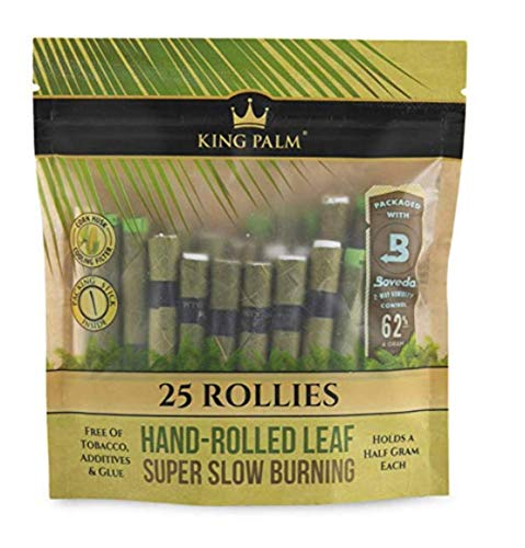 King Palm Rollie Size Cones (1 Packs of 25, 25 Rolls Total) Natural Pre Wrap Palm Leafs - Pre Rolled Cones - All Natural Cones - Corn Husk Filter Preroll Cones - Cones with Filter - Organic Cones
