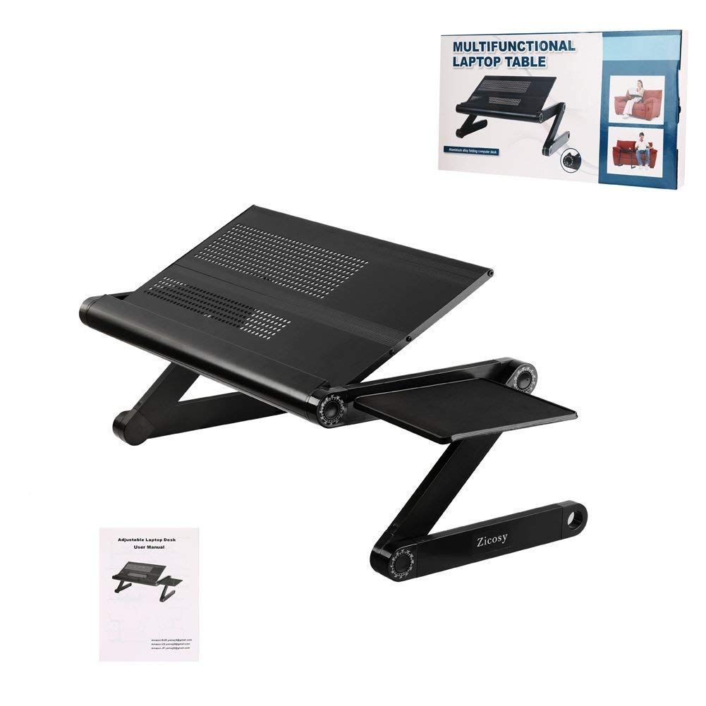 Laptop Table Stand,Portable Laptop Stand for Desk & Bed - Adjustable Riser Lap Tray Stand-Up Computer Lapdesks with Mouse Pad Side Compatible MacBook,Notebook & Tablets for Size up to 17'' (48cm) by YOJULY (Image #2)