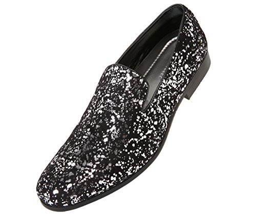 Amali Mens Metallic and Studded Smoking Slipper Loafer Dress Shoes, Style Morris, Runs Large - Size a 1/2 Size Down ()