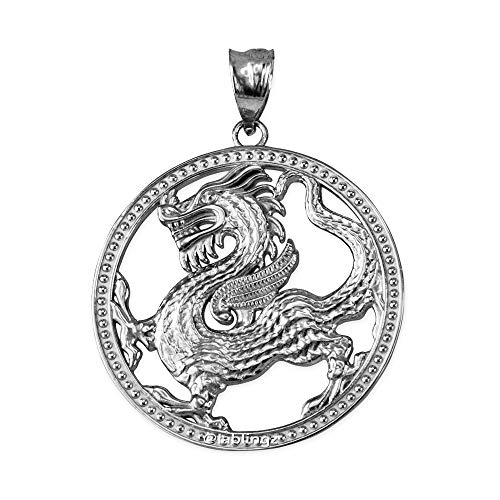Sterling Silver Chinese Dragon Pendant - LA BLINGZ Sterling Silver Chinese Dragon Open Medallion Pendant Necklace (Pendant Only)