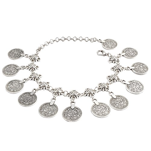 - JANE STONE Vintage Style Antique Silver Anklet Color Coin Tassels Beach Ankle Chain (B0480)