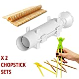 Sushi Bazooka, Sushi Mat and Two Sets of Bamboo Chopsticks and Silicone Helper (Training) Chopsticks,Kitchen Appliance Machine Rice Roller Making Kit