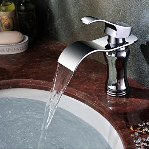 Yodel Single Handle Waterfall Bathroom Vanity Sink Faucet (Chrome - Chrome Bathroom Touchless Faucet