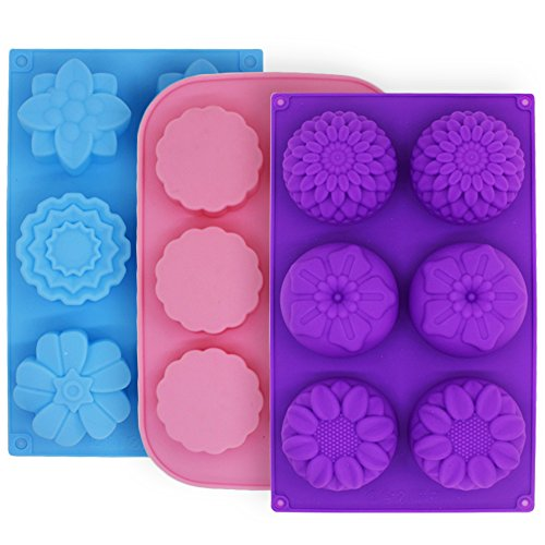 3 Pcs Cake Muffin Mooncake Silicone Molds, FineGood Flower-Shaped Pans for Making Jelly Pudding Cookies Chocolate, DIY Handmade Soap Trays, 6-Cavity - Purple, Blue, Pink